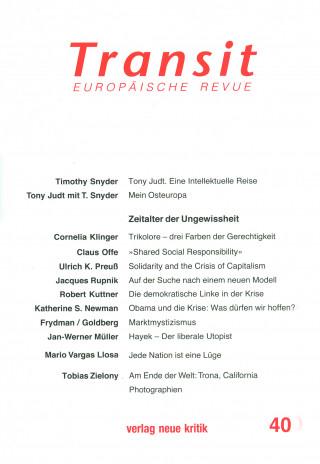 Ulrich K. Preuß, Claus Offe, Timothy Snyder: Transit 40. Europäische Revue